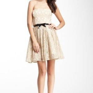 MAX & CLEO Nude Beige Lace Belted Strapless Dress
